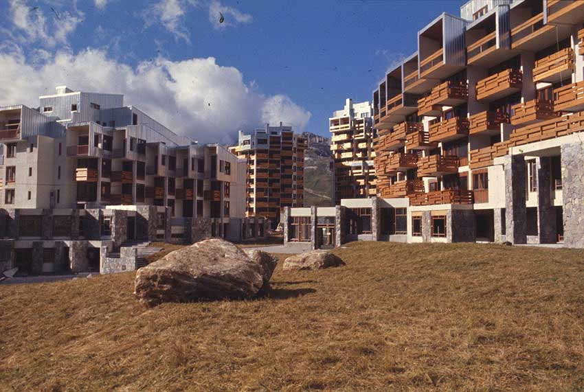The Sefcotel and other buildings in Tignes Val Claret. Photo from the beginning of the 1970s.
